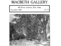 "Art Notes, Macbeth Gallery, New York, NY, ""We have so long preached…"", November, 1920, Number 71, page 1194-1195, illustrated: b&w on 1195"