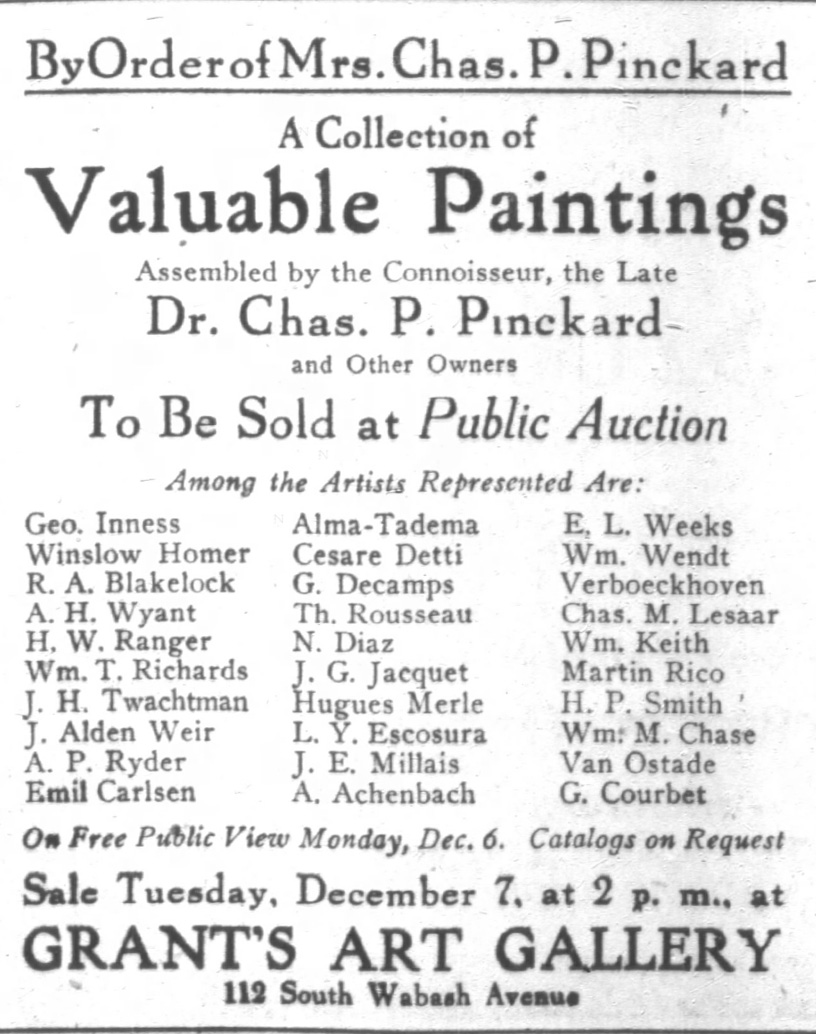 "Chicago Daily Tribune, Chicago, IL ""Grant's Art Gallery Auction Ad"", Monday, December 6, 1920, page 4"
