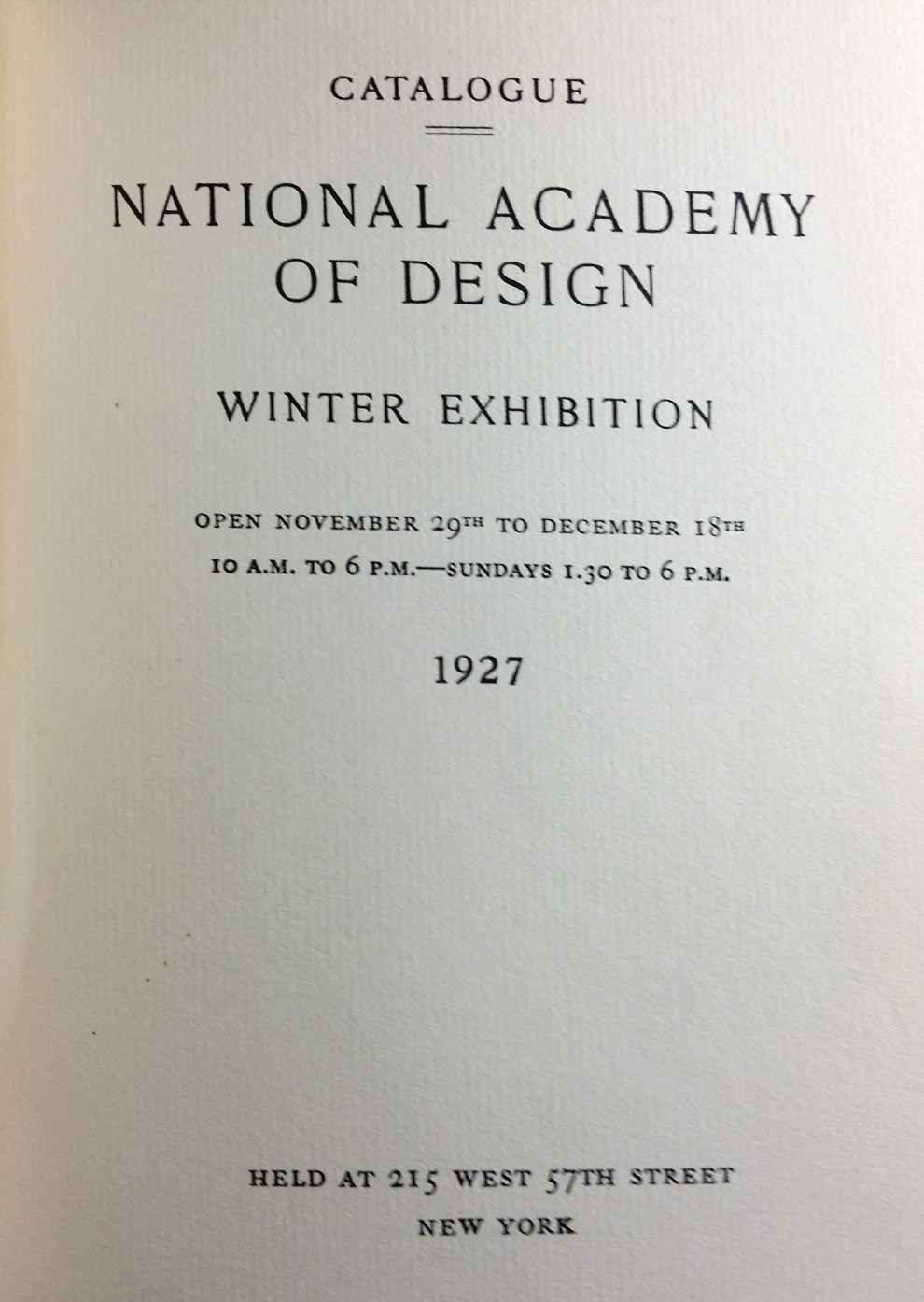 "1927 The National Academy of Design, New York, NY, ""102nd Annual Exhibition (Winter)"", November 29–December 18"