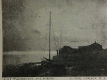 """Newspaper Clipping of Emil Carlsen's Port Washington, California from unknown source"", c.1942"