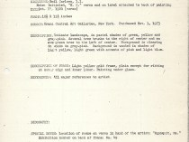 """Baker-Pisano [1949-2000] collection notes on Emil Carlsen Works"" by D. Frederick Baker, January 8, 1974"