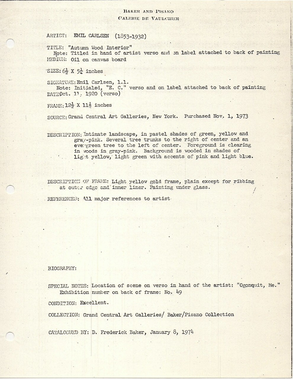 """""""Baker-Pisano [1949-2000] collection notes on Emil Carlsen Works"""" by D. Frederick Baker, January 8, 1974"""