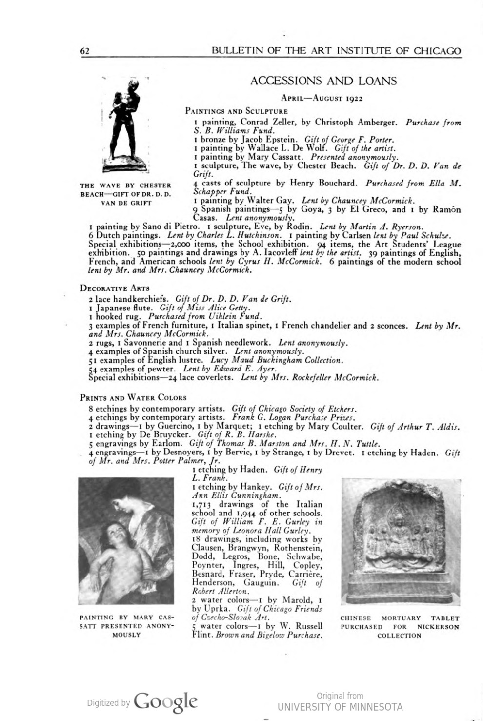 "Bulletin of the Art Institute of Chicago, Chicago, IL, ""Accessions and Loans"", January, 1925, volume 19, number 1, pages 62, not illustrated"