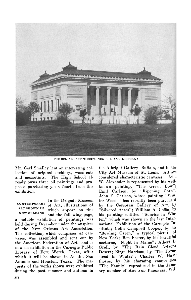 "Art and Progress, ""Contemporary Art Show in New Orleans"" by The American Federation of the Arts, Volume 4, 1913, pg. 878, not illustrated"
