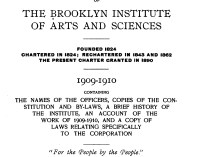 """""""The Twenty-second Year Book of The Brooklyn Institute of Arts and Sciences"""" by The Brooklyn Institute of Arts and Sciences, Brooklyn, NY, 1909-1910, page 74, not illustrated"""