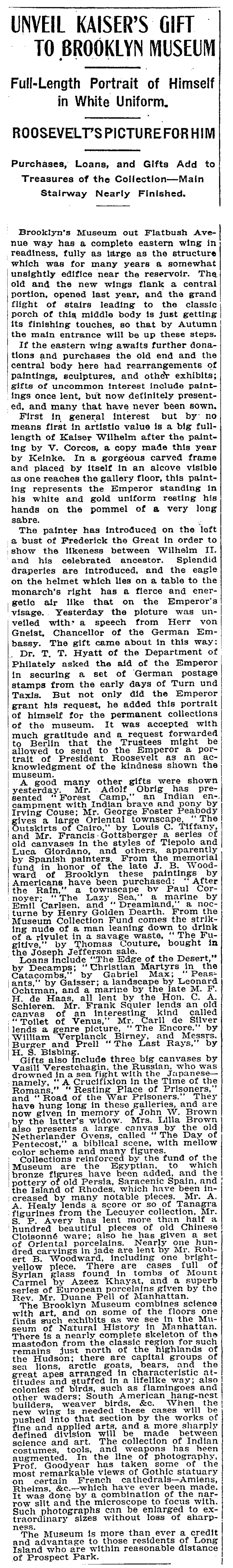 "The New York Times, New York, NY, ""Unveil Kaiser's Gift To Brooklyn Museum"", June 17, 1906, not illustrated"