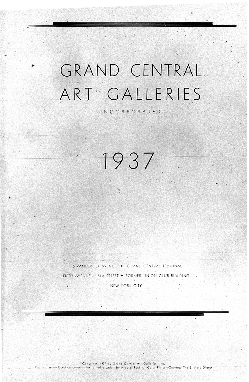 """Nineteen Thirty Seven"" by Grand Central Art Galleries, New York, NY, 1937, illustrated: b&w on page 12"