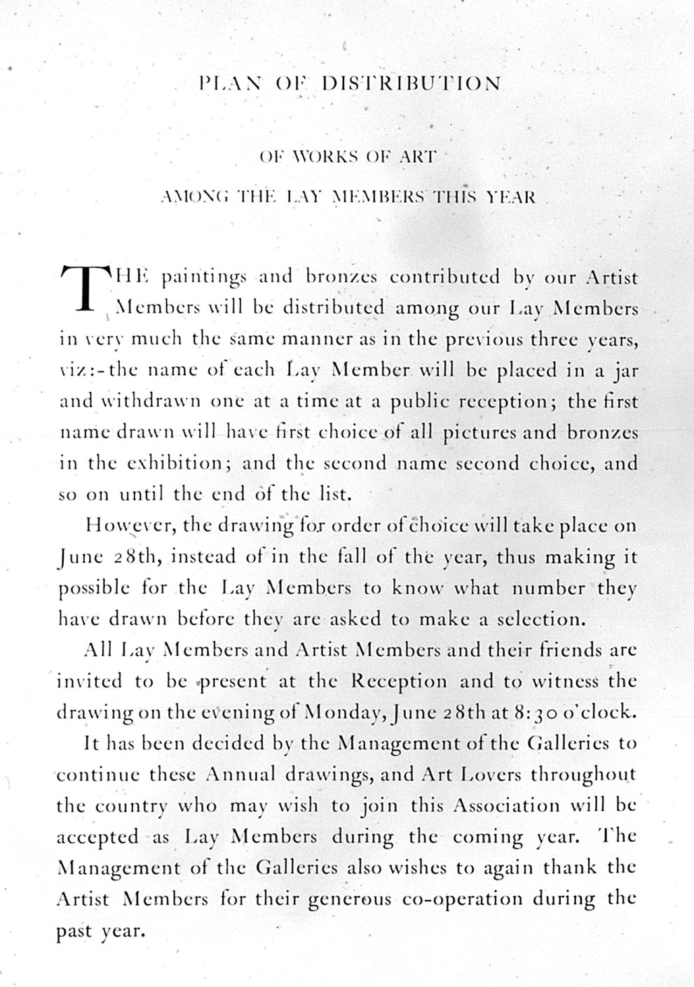 """1926 Grand Central Art Galleries, Inc., New York, NY, """"Exhibition of Paintings and Sculpture Contributed by Artist Members of the Galleries"""", June 28 - September 30"""
