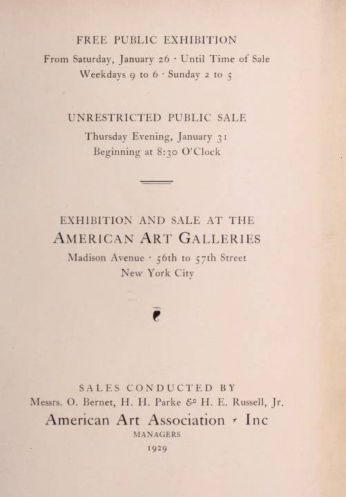 """1929 American Art Association, New York, NY, """"The George Barr McCutcheon Collection of Paintings"""", January 26-31"""