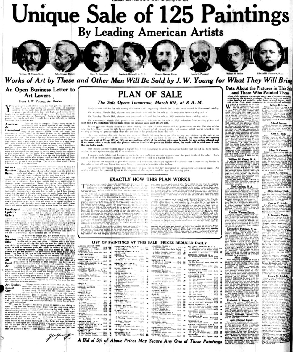 """Chicago Daily Tribune, Chicago, IL, """"Unique Sale of 125 Paintings By Leading American Artists"""", March 5, 1916, page 12, not illustrated"""
