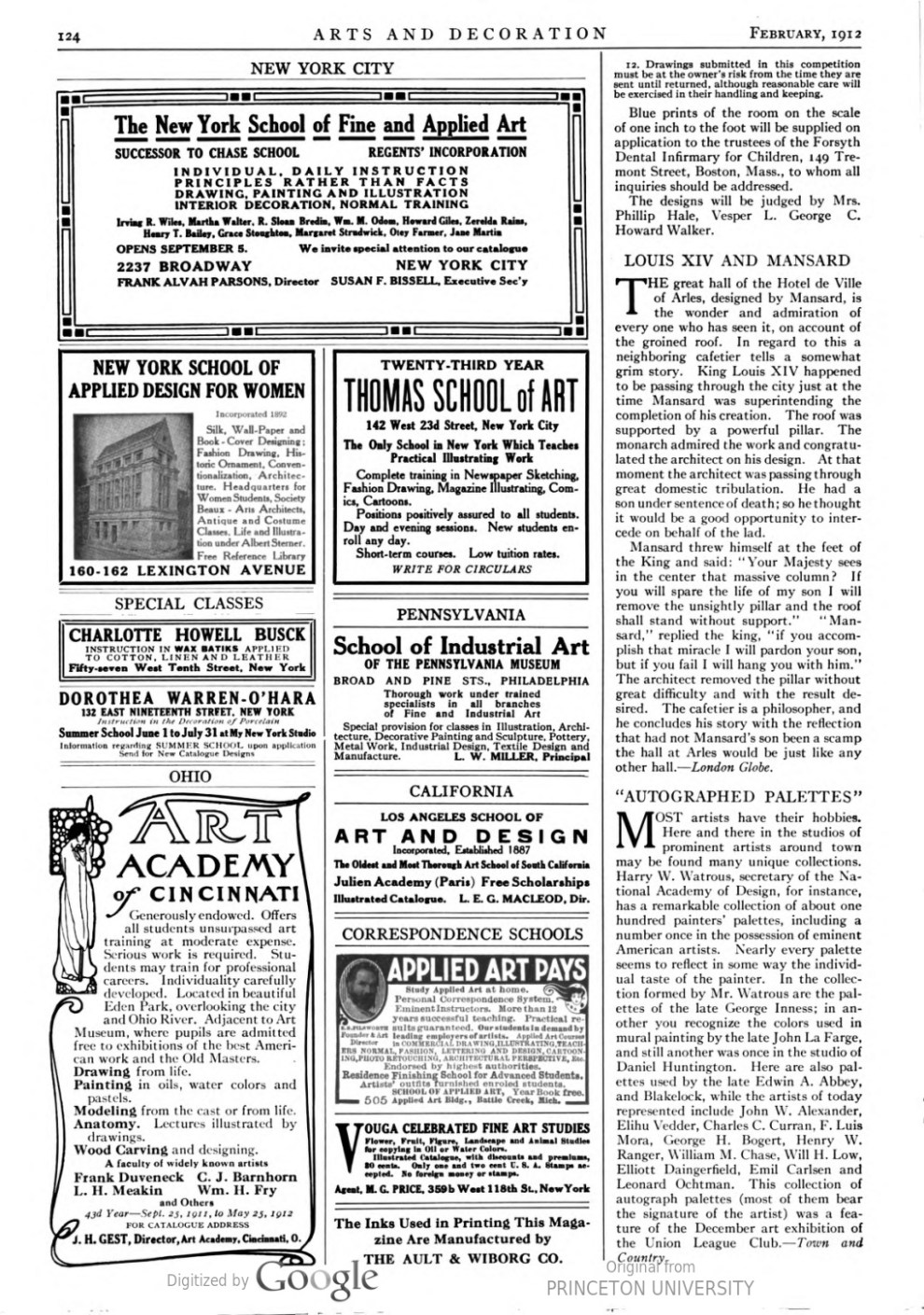 "Arts & Decoration, New York, NY, ""Autographed Palettes"", Volume 2, Number 4, February, 1912, page 124, not illustrated"