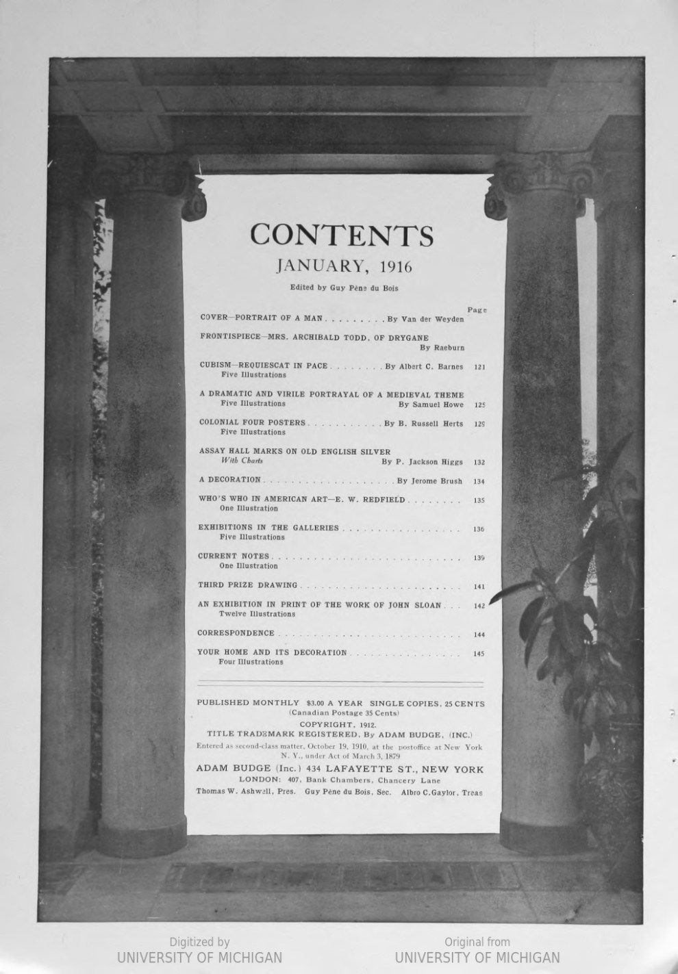 "Arts & Decoration, New York, NY, ""Exhibitions in the Galleries: What is the matter with the National Academy of design?"", Volume 6, Number 3, January, 1916, page 138, not illustrated"