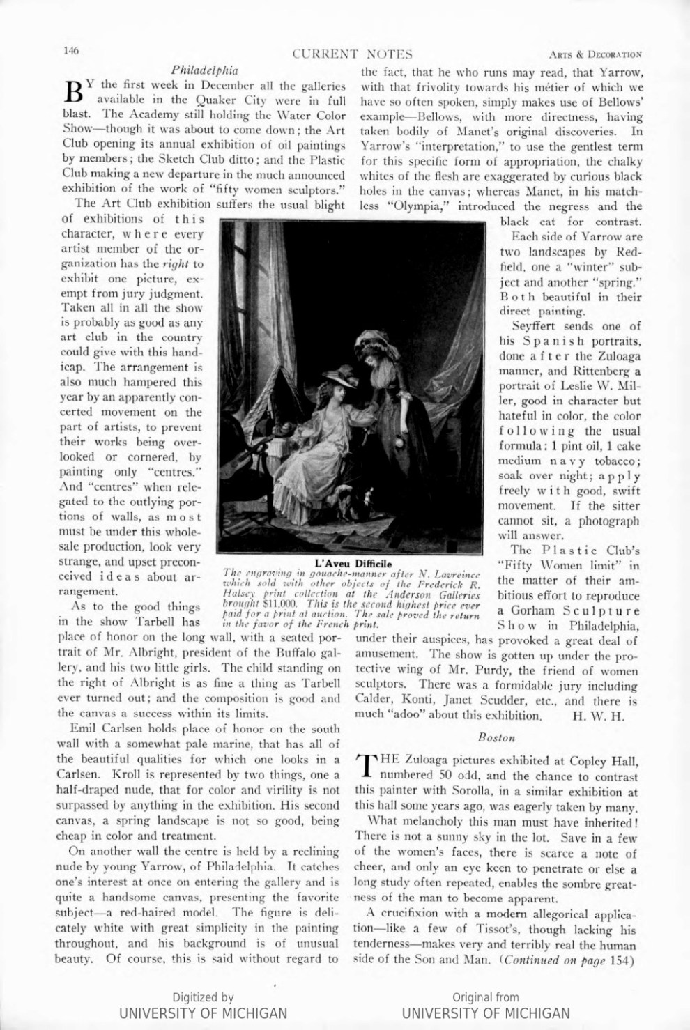 """Arts & Decoration, New York, NY, """"Current Notes"""", Volume 7, Number 3, January, 1917, page 146, not illustrated"""