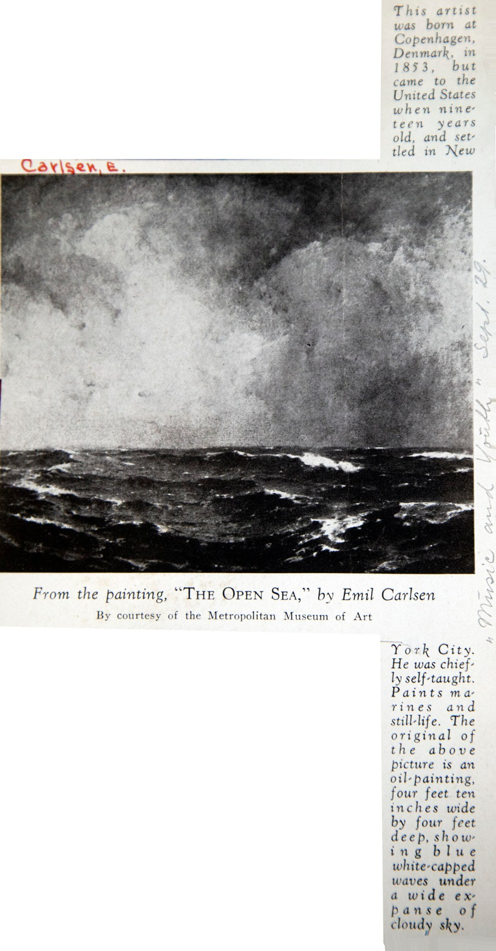 """Music and Youth, New York, NY, """"From the Painting, The Open Sea, by Emil Carlsen"""", September, 1929"""