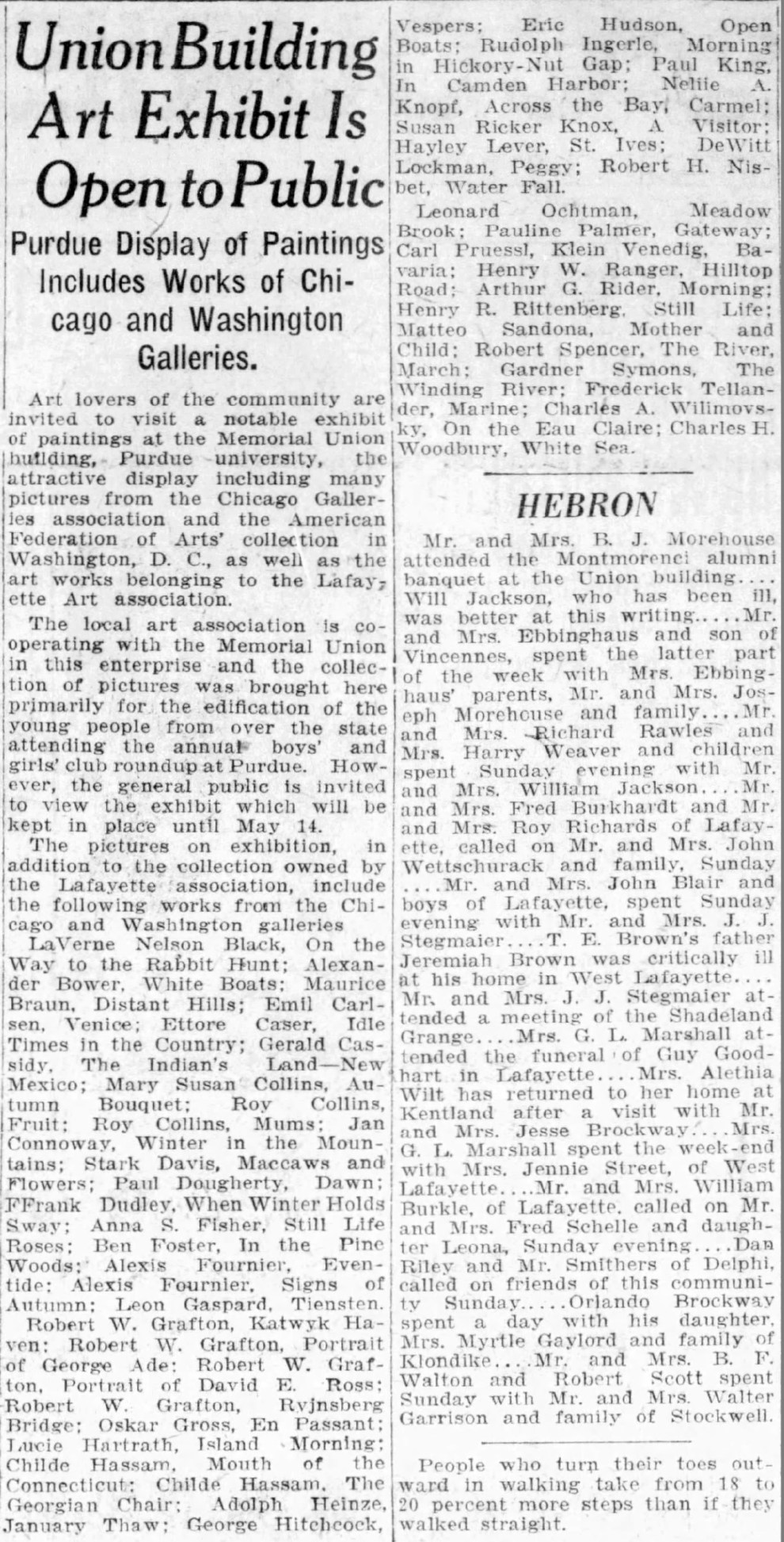 """Journal and Courier, Lafayette, IN, """"Union building art exhibit is open to public"""", Saturday, May 8, 1926, page 2, not illustrated"""