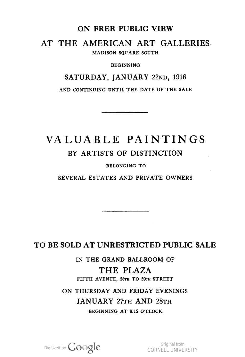 """1916 American Art Galleries, New York, NY, """"Valuable paintings by artists of distinction belonging to the estates of the late Mr. J. R. Andrews…"""", January 22-28."""