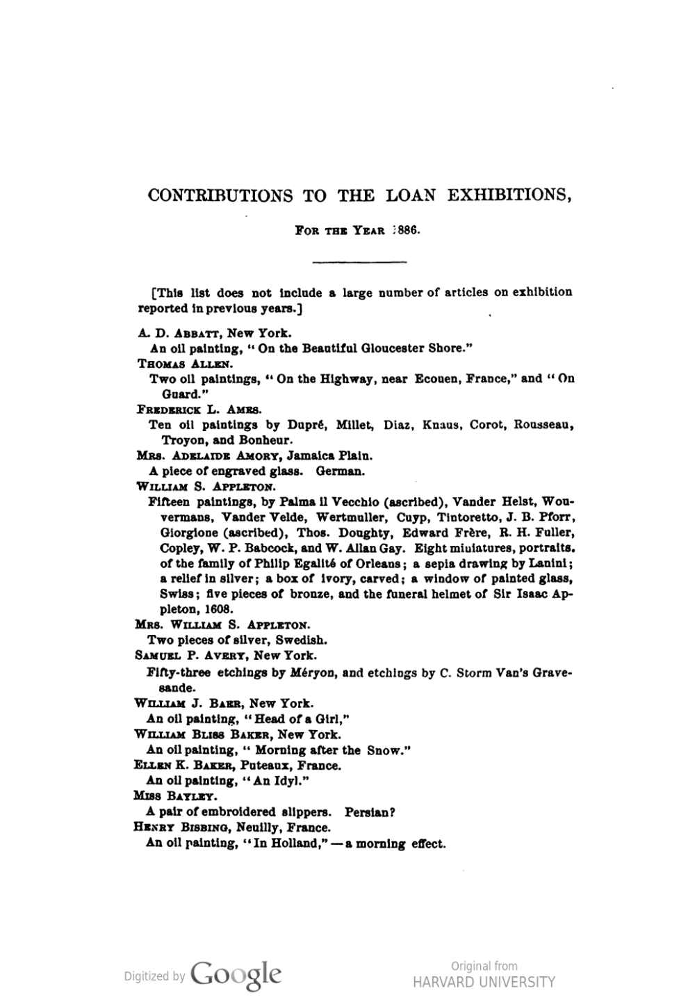 "1886 Annual Report, Museum of Fine Arts, Boston, MA, ""Contributions to the loan exhibitions, for the year 1886"", not illustrated"