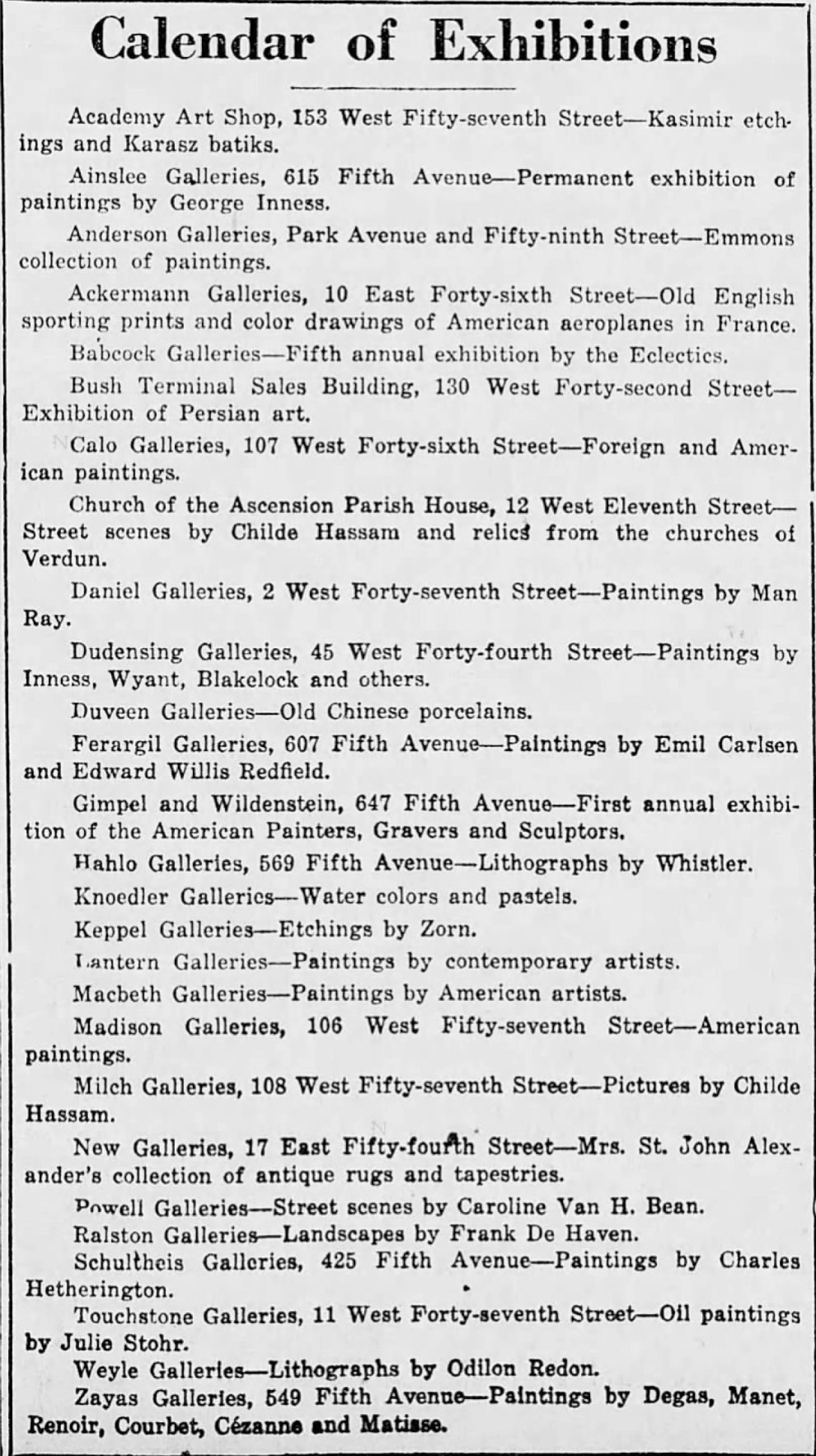 """New York Tribune, New York, NY, """"Calendar of exhibitions"""", Sunday, November 23, 1919, first edition, page 43, not illustrated."""