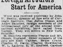 "Pittsburgh Daily Post, Pittsburgh, PA, ""Foreign art jurors start for America"", Tuesday, March 23, 1920, page 3"