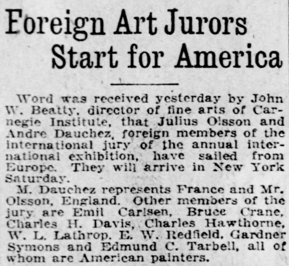 """Pittsburgh Daily Post, Pittsburgh, PA, """"Foreign art jurors start for America"""", Tuesday, March 23, 1920, page 3"""