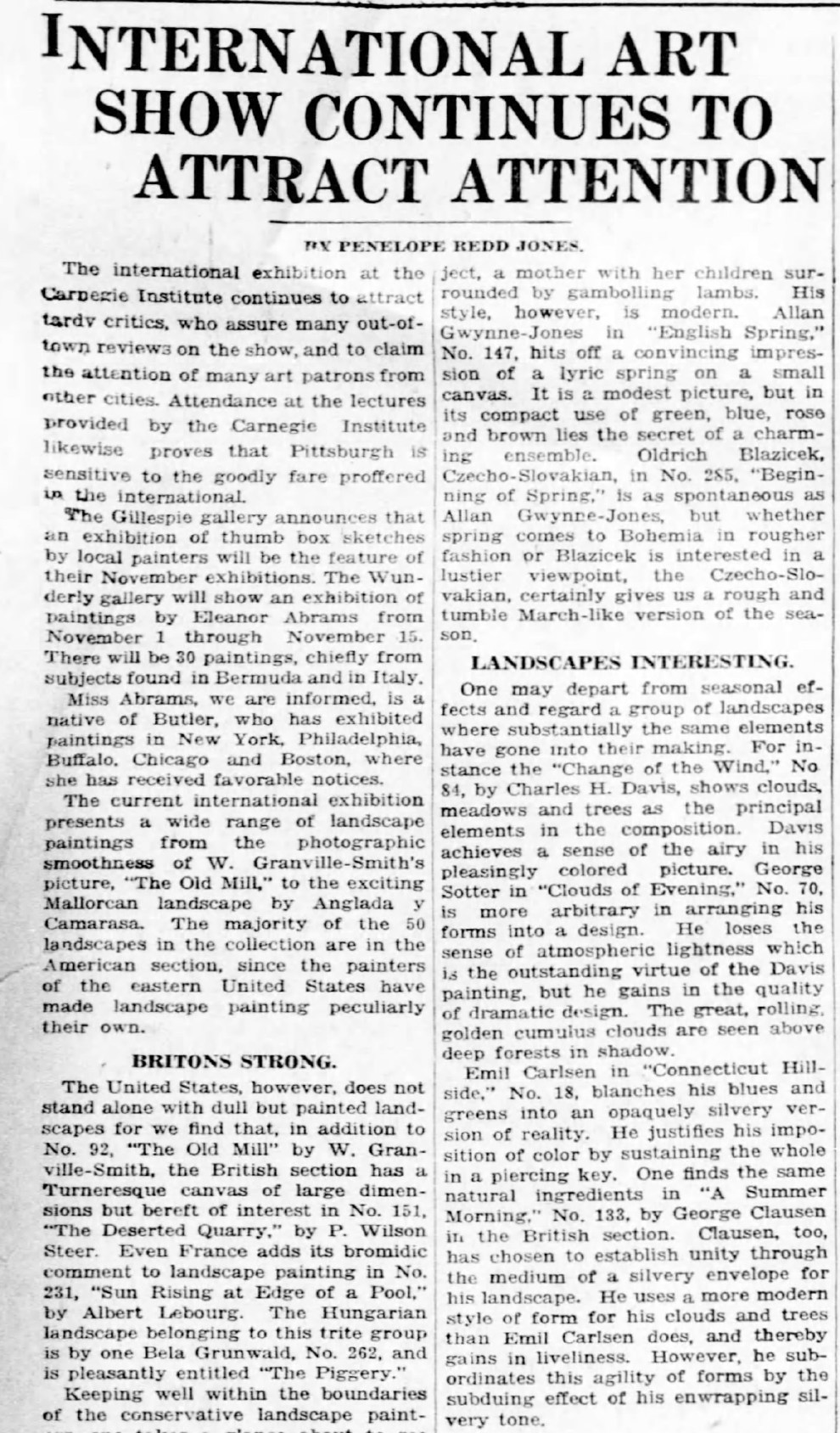 """Pittsburgh Daily Post, Pittsburgh, PA, """"International art show continues to attract attention"""" by Penelope Redd Jones, Sunday, October 31, 1926, page 60, not illustrated"""