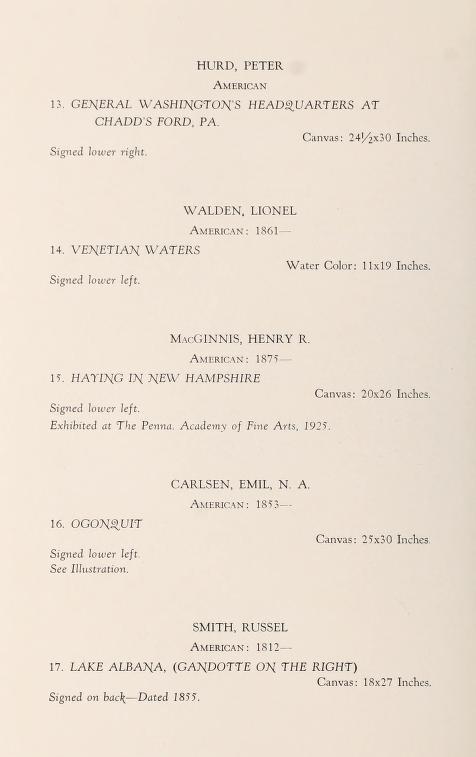 "1931 Samuel T. Freeman & Co, Philadelphia, PA, ""Important American paintings"", April 20"