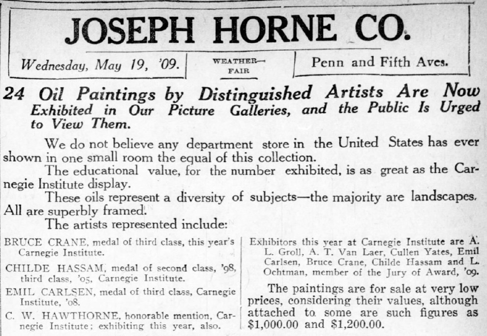 "Pittsburgh Daily Post, Pittsburgh, PA, ""Joseph Horne Co. : 24 oil paintings by distinguished artists..."", Wednesday, May 19, 1909, page 3, not illustrated."