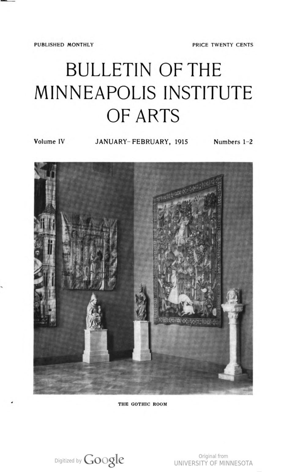 """Bulletin of the Minneapolis Institute of Arts, The Minneapolis Institute of Arts, Minneapolis, MN, """"List of accessions : July, 1914 - January, 1915"""", January - February, 1915, volume 4, number 1-2, page 23, not illustrated"""