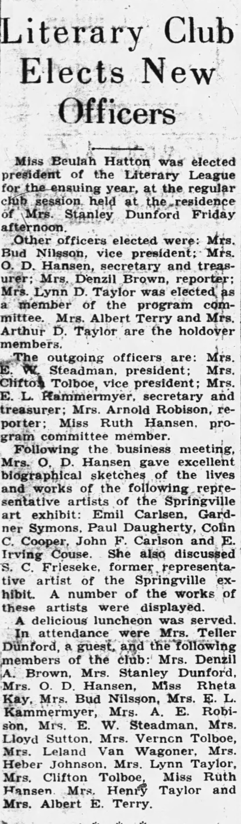 "The Sunday Herald, Provo, UT, ""Literary club elects new officers"", Sunday, April 3, 1932, page 3, not illustrated"