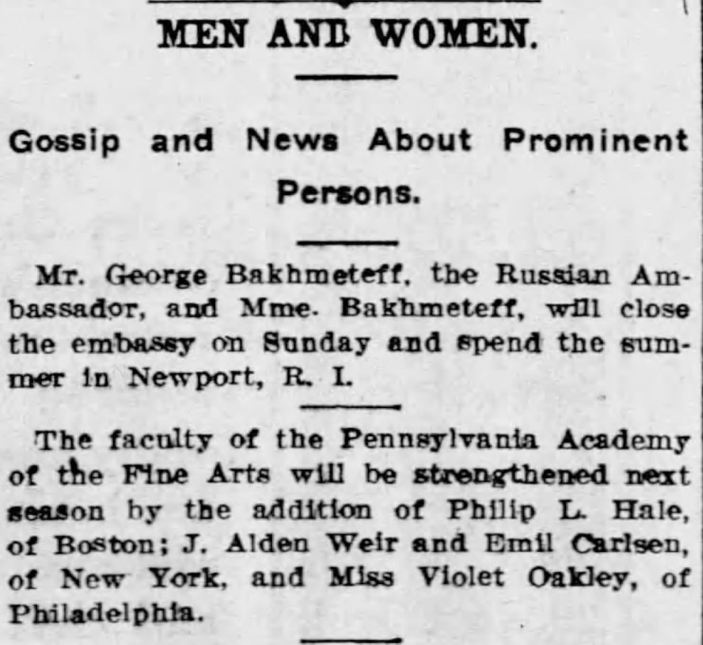"""The Buffalo Commercial, Buffalo, NY, """"Men and women : Gossip and news about prominent persons"""", Monday, June 24, 1912, page 7, not illustrated."""