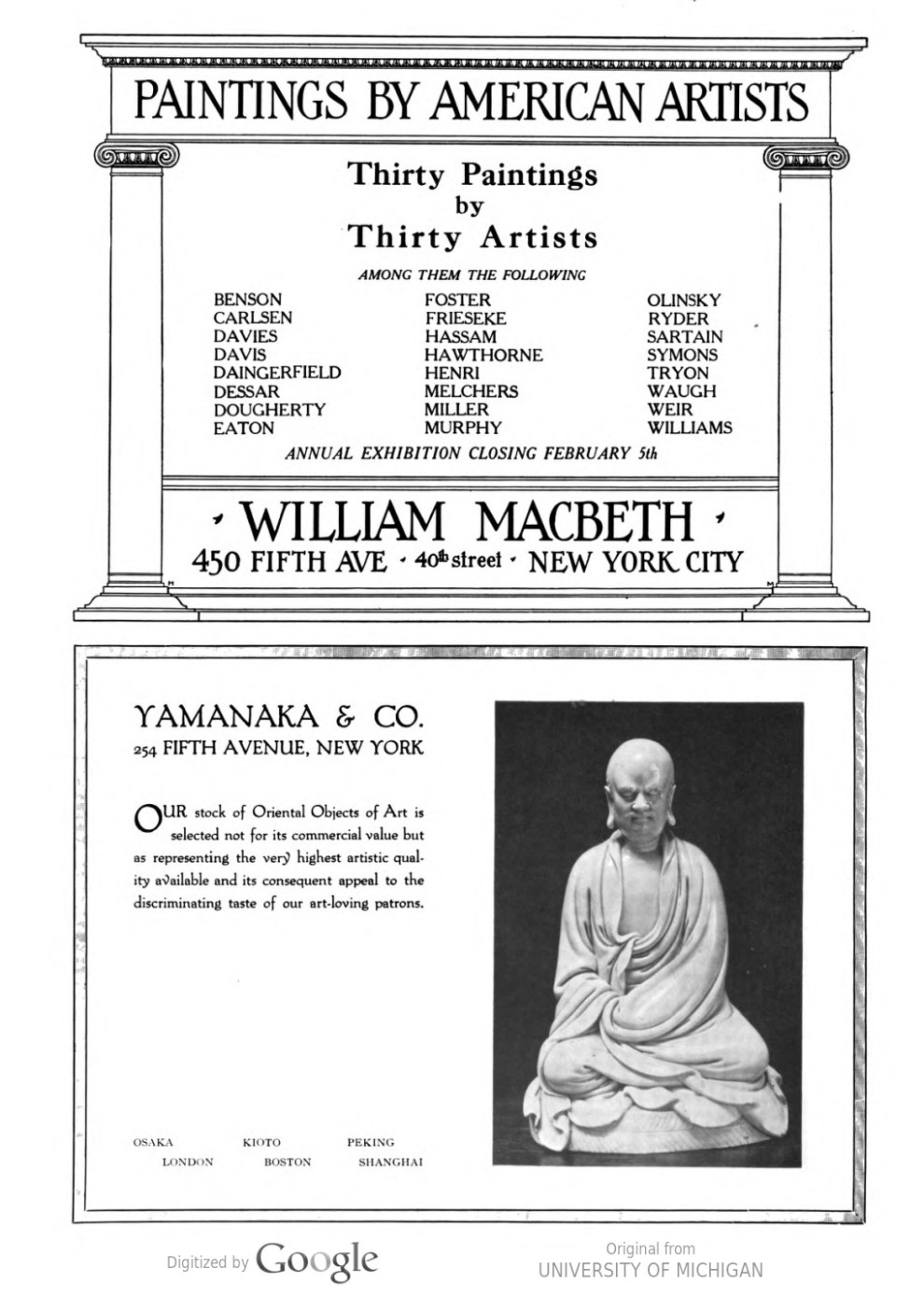 "[unknown magazine], ""Paintings by American artists : Thirty paintins by thirty artists [ad for William Macbeth Galleries]"", 1916-1917, [unknown page], [unknown date]."