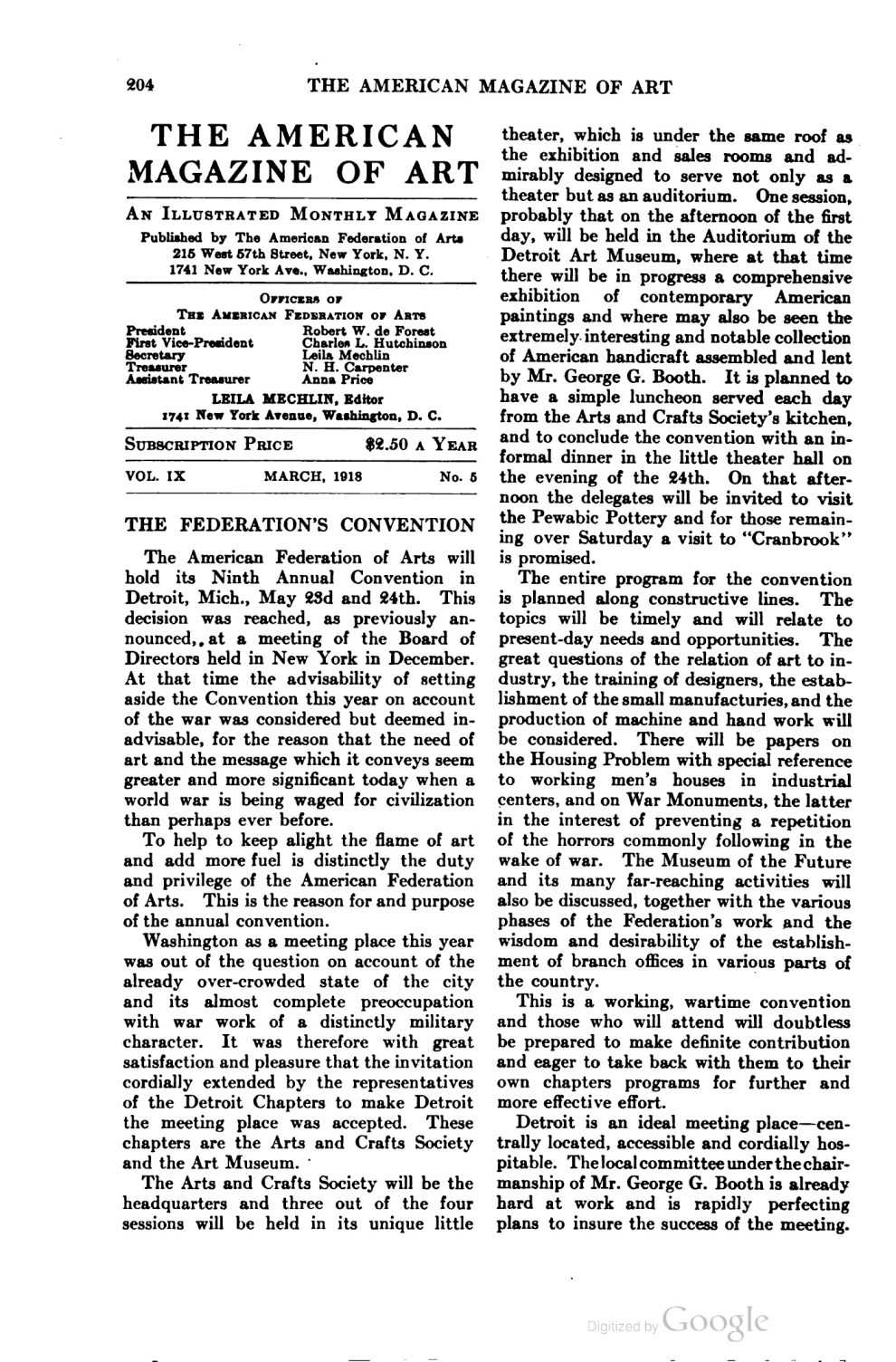"""The American Magazine of Art [Art of progress], The American Federation of the Arts, New York, NY, """"Notes : Works by alumni of Chicago Art Institute"""", volume 9, number 5, March, 1918, page 206-207, not illustrated."""