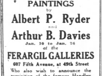 "New York Times, New York, NY, Sunday, ""Exhibition of a noteworthy group of paintings [ad]"", January 9, 1921, page 113, not illustrated."