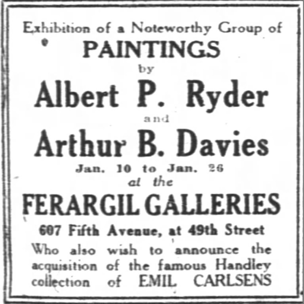 """New York Times, New York, NY, Sunday, """"Exhibition of a noteworthy group of paintings [ad]"""", January 9, 1921, page 113, not illustrated."""