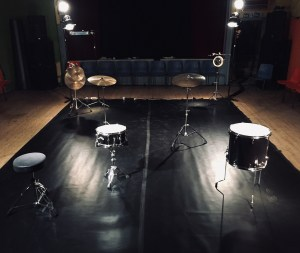 a square space full of drums and cymbals