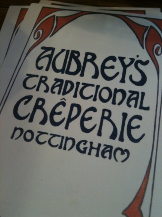 Met a friend at the wonderful Aubrey's Traditional Creperie in Nottingham