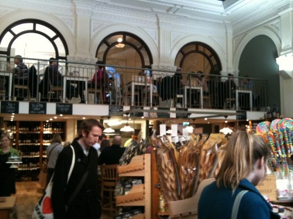 Nial browsing in the new Delilah deli in Nottingham