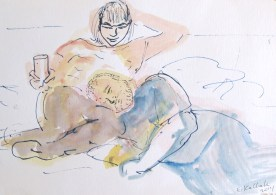 Chris and Erin on Couch, watercolor on paper, 5 by 7 in, Emilia Kallock 2014