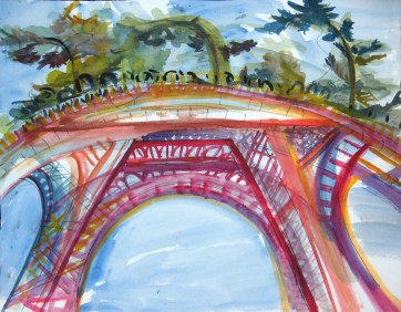 Eiffel Tower with Trees, watercolor on paper, 13 by 14 in. emilia kallock 2014
