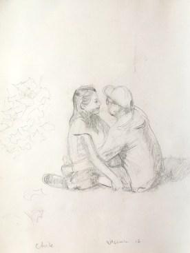 Chile, Plaza Couple Study, watercolor on paper, 11 by 9 in. Emilia Kallock 2017