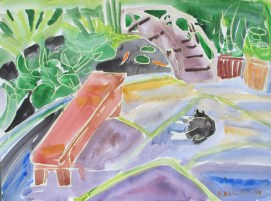 Lilypond, Cat and Bench, watercolor and pastel on paper, 18 by 24 in. Emilia Kallock 2008