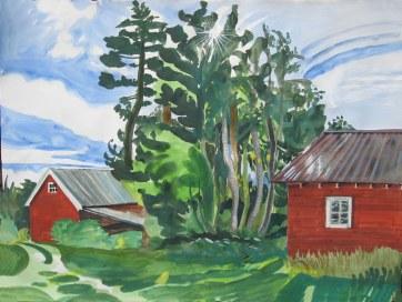Logen Barn, watercolor and gouache on paper, 36 by 42 in. Emilia Kallock 2008