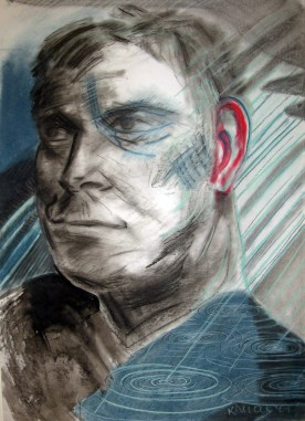 Man in Rain, watercolor and charcoal on paper, 32 by 24 in. Emilia Kallock 2007