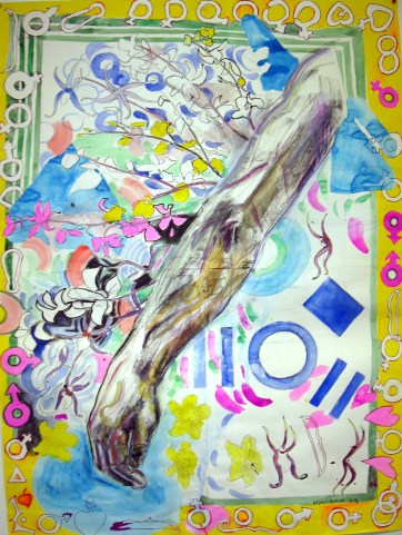 Orchid Arm, charcoal, ink and acrylic on paper, 50 by 46 in. Emilia Kallock 2009