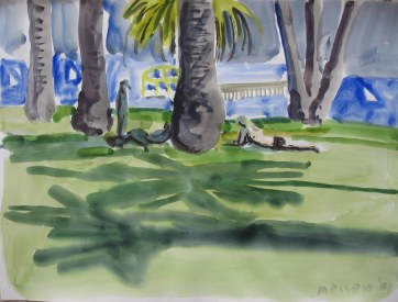 LA Palm Trees, watercolor on paper, 18 by 24 in. Emilia Kallock 2008
