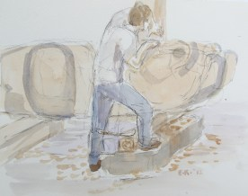 Donny Working on Raven 3, watercolor on paper, 8 by 10 in. Emilia Kallock 2014