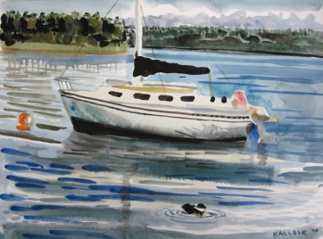Sailboat, watercolor on paper, 18 by 24 in. Emilia Kallock 2007