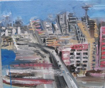 Seattle Waterfront, oil on canvas, 8 by 10 in. Emilia Kallock 2006