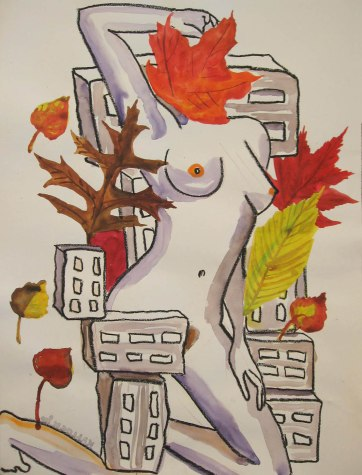 Torso and Leaves, 18 by 13 in. Emilia Kallock 2008