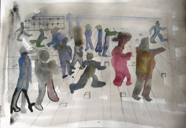Watercolor People, watercolor on paper, 8 by 12 in. Emilia Kallock 2006